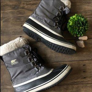 Sorel Winter Carnival Sherpa Waterproof Boots Gray